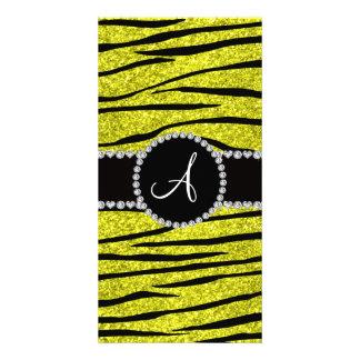 Monogram neon yellow glitter zebra stripes circle picture card