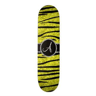 Monogram neon yellow glitter zebra stripes circle custom skateboard
