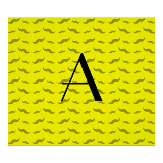 Monogram neon yellow mustache pattern poster