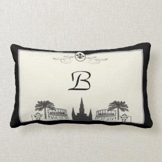 Monogram New Orleans Scene Lumbar Pillow