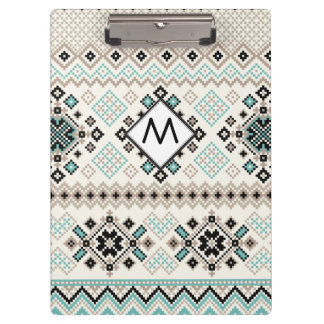 Monogram Nordic Cross Stitch Pattern Clipboard