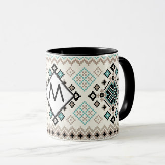 Monogram Nordic Cross Stitch Pattern Mug