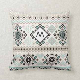 Monogram Nordic Cross Stitch Pattern Throw Pillow
