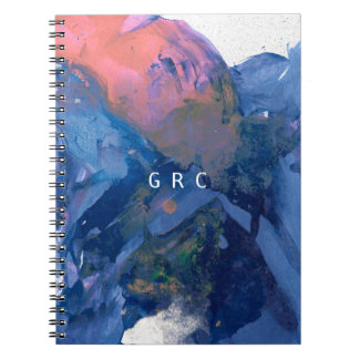 Monogram Notebook - Blue Pink Abstract Art