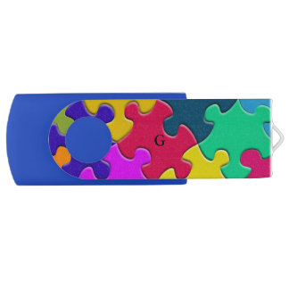 Monogram Novelty Puzzle USB Swivel Flash Drive