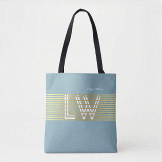 monogram of interlaced golden lines tote bag