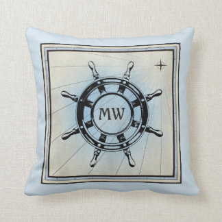 Monogram Old Helm Vintage Blue Nautical Compass Cushion