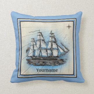 Monogram Old Ship Vintage Blue Nautical Compass Throw Pillow