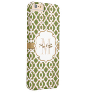 Monogram Olive Green and Gold Quatrefoil Barely There iPhone 6 Plus Case