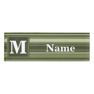 Monogram olive green stripes name tag