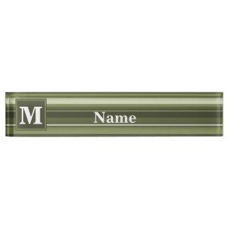 Monogram olive green stripes nameplate