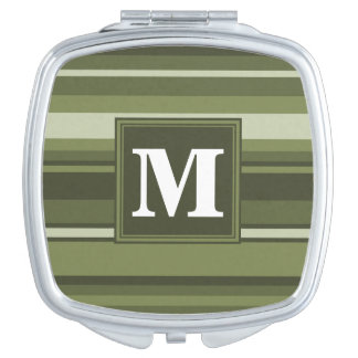 Monogram olive green stripes travel mirrors