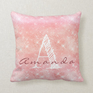 Monogram Ombre Name Pink Candy Pastel Watercolor Cushion