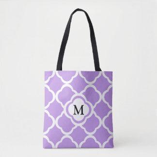 Monogram On A Bright Purple Quatrefoil Pattern Tote Bag