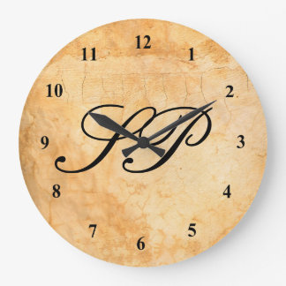 Monogram on a Brown  terracotta brick wall Large Clock