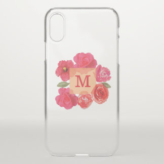 Monogram on Beautiful Watercolor Roses iPhone X Case