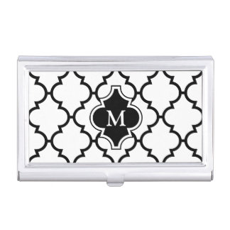 Monogram on Black White Quatrefoil Pattern Business Card Holder