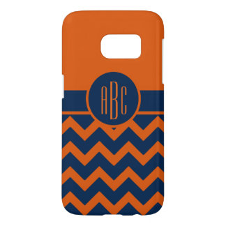 Monogram on Burnt Orange and Navy Blue