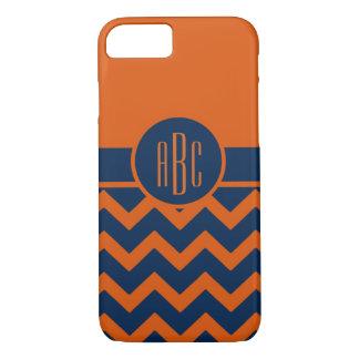 Monogram on Burnt Orange and Navy Blue iPhone 8/7 Case