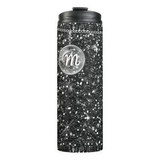 Monogram on Chain Black Glitter ID145 Thermal Tumbler