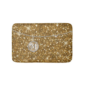Monogram on Chain Gold Glitter ID145 Bath Mats
