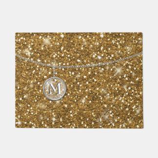 Monogram on Chain Gold Glitter ID145 Doormat