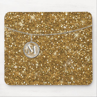 Monogram on Chain Gold Glitter ID145 Mouse Pad