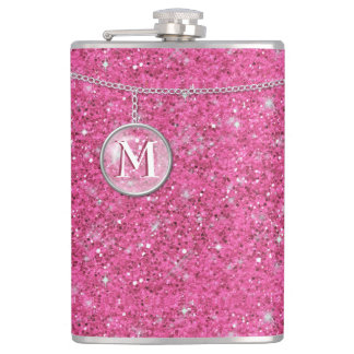 Monogram on Chain Pink Glitter ID145 Hip Flask