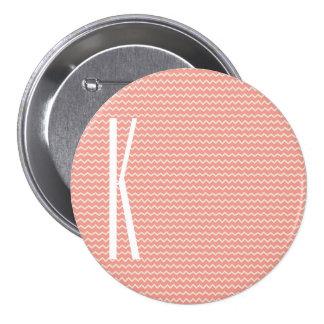 Monogram on Coral Pink Mini Chevron Pattern 7.5 Cm Round Badge