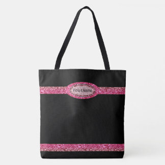 Monogram on Faux Glitter Tote Bag