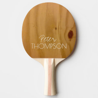 monogram on faux wood grains ping pong paddle