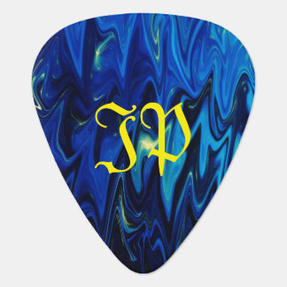 Monogram on goth inspired shades of blue and black plectrum