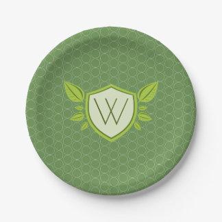 Monogram on Leaf Shield | paper plate