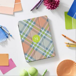 monogram on lime peach and blue diagonal plaid iPad air cover