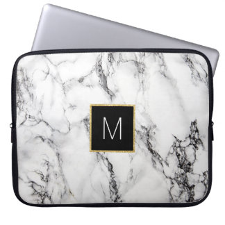 monogram on marble laptop sleeve
