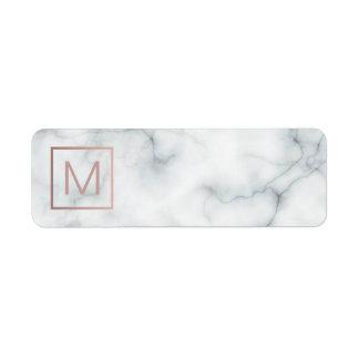 monogram on marble return address label