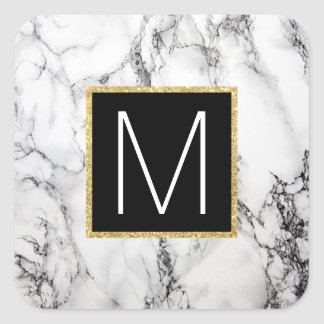 monogram on marble square sticker