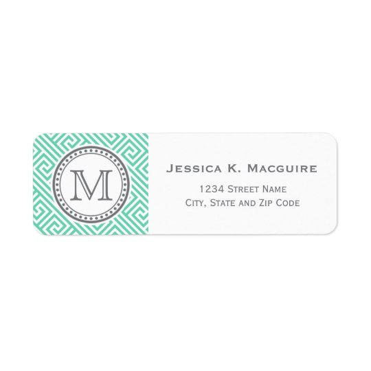 Monogram on Mint Green Greek Key Pattern Return Address Label