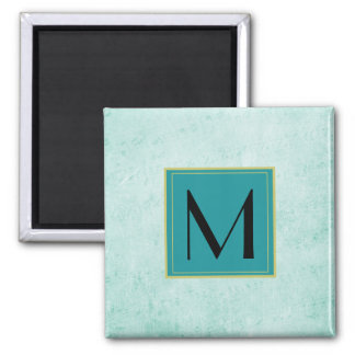 Monogram on Mint Green Vintage paper texture Square Magnet