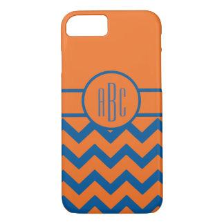 Monogram on Orange and Blue iPhone 8/7 Case