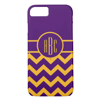 Monogram on Purple and Gold iPhone 8/7 Case