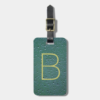 Monogram on Rain Droplets Texture Travel Bag Tag