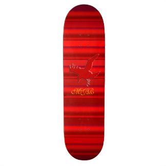 Monogram on Raven logo with red chrome-effect 21.6 Cm Skateboard Deck