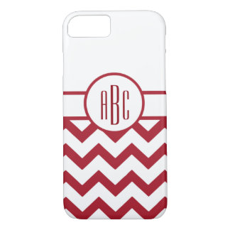 Monogram on Red and White iPhone 8/7 Case