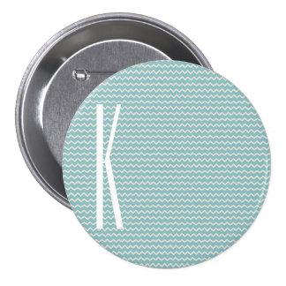 Monogram on Retro Blue Mini Chevron Pattern 7.5 Cm Round Badge