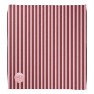 Monogram on rose pink disk and maroon stripes bandana