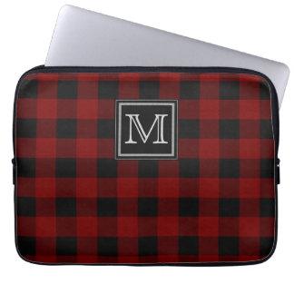 Monogram on Rugged Red and Black Plaid Laptop Sleeve