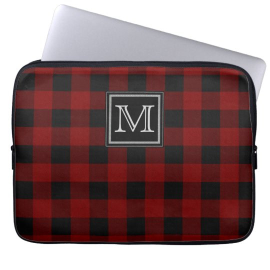 Monogram on Rugged Red and Black Plaid Laptop Sleeve
