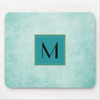 Monogram on Soft Green Vintage paper texture Mouse Pad