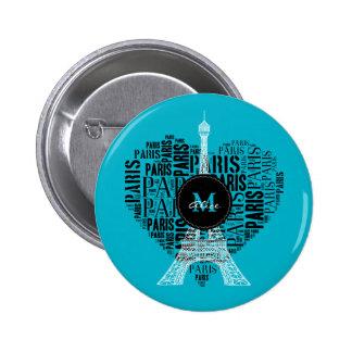 Monogram on Text Pattern Paris 6 Cm Round Badge